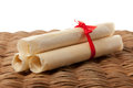 Sweet rolled wafers with red bow Stock Images