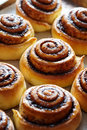 Sweet rolls buns with cinnamon and cocoa. Close-up. Kanelbulle - swedish homemade dessert. Royalty Free Stock Photo