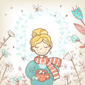 A sweet rosy girl with a cup of drink.Wreath floral background,