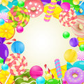 Sweet round frame. Different candies and sweets colorful backgro