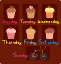 Sweet schedule for the week vector illustration Stock Photo