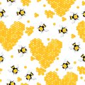 Sweet seamless pattern with bees and honey hearts.