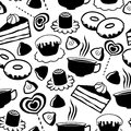 Sweet seamless pattern with cakes sweets and tea cups Royalty Free Stock Image