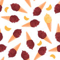 Sweet seamless pattern with chocolate and vanilla ice cream cones and tangerine slice