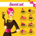 Sweet set cakes icons woman with Stock Photos