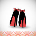 Sweet shoes pair of high heel with bows on the heels shadows in esp Royalty Free Stock Photo