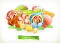Sweet shop. Candy land. 3d vector
