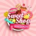 Sweet shop logo, label or emblem.