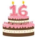 Sladký šestnásť torta k narodeninám