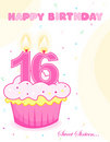 Sweet sixteen birthday cake /greeting Stock Photos