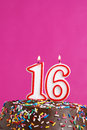 Sweet sixteen a number candle represents years worth celebrating Royalty Free Stock Images