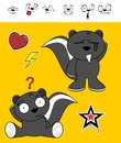 Sweet skunk cartoon expressions set little cute in vector format very easy to edit Stock Image