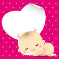Sweet sleeping newborn baby shower card with vector illustration eps Royalty Free Stock Photo