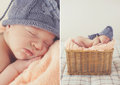 Sweet sleeping newborn baby in wicker basket collage a of two photos lying on a pink fluffy blanket at a knitted gray cap with a Royalty Free Stock Image