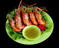 Sweet smell grilled shrimps Stock Photography
