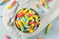Sweet Sour Neon Gummy Worms Royalty Free Stock Photo