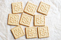 Sweet square cookies background