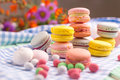 Sweet still life of macaroon cookies and marshmallow with Royalty Free Stock Photos
