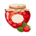 Sweet Strawberry Red Jam Glass Jar Filled With Berry With Template Label Illustration Royalty Free Stock Photo