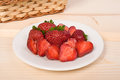 Sweet strawberry on white plate Royalty Free Stock Photo