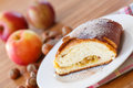 Sweet strudel with apples on a plate powdered sugar Royalty Free Stock Photo