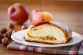 Sweet strudel with apples on a plate powdered sugar Royalty Free Stock Image