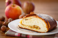 Sweet strudel with apples on a plate powdered sugar Royalty Free Stock Photos