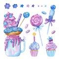 Sweet-stuff, confection hand drawn illustrations set. Royalty Free Stock Photo