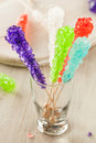 Sweet sugary multi colored rock candy ready to eat Stock Image