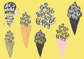 Sweet summer Hand drawn lettering with silhouette ice cream cone, typography A g