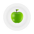 Sweet tasty apple on plate vector illustration Royalty Free Stock Photography