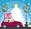 Sweet teddy bear in the car with christmas gift box Royalty Free Stock Photo