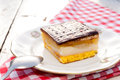 Sweet time homemade lambada cake on the old plate Royalty Free Stock Photography