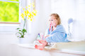 Sweet toddler girl brushing teeth Royalty Free Stock Photo