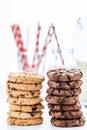 Sweet treat breakfast homemade cookies and milk Royalty Free Stock Image
