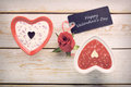 Sweet treat for valentines day with card for text in vintage style Stock Images