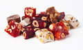 Sweet turkish delights with nuts Royalty Free Stock Image