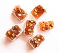 Sweet turkish delights on white background Royalty Free Stock Photo