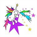 Sweet unicorn sitting on purple star