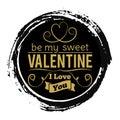 Sweet Valentines Day gold banner on black grunge backdrop - vintage love stamp design Royalty Free Stock Photo