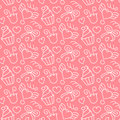 Sweet vector seamless pattern with hearts, cupcakes, flowers, bows. Cute hand drawn background. Endless texture.