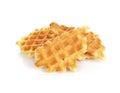 Sweet waffles on white Royalty Free Stock Photo