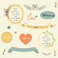 Sweet wedding set elements in retro style vector. Royalty Free Stock Photo