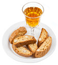 Sweet white wine and italian almond cantuccini Royalty Free Stock Photography