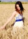 Sweet woman on wheat Royalty Free Stock Photo