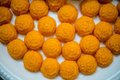 Sweet yellow candy at the plate thailand Royalty Free Stock Photo