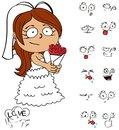Sweet young bride cartoon expressions set funny in vector format Stock Image