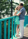 Sweet young couple kissing in the city summer Royalty Free Stock Image