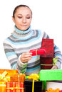 Sweet young girl with christmas present Stock Image
