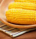 Sweetcorn on the plate Royalty Free Stock Image